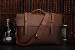 Фотография - Мужской кожаный портфель TIDING BAG 7082R - номер 4