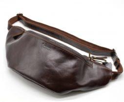 Сумка на пояс GX-3036-3md из натуральной коричнево-бордовой кожи от бренда Tarwa - фото сумки 2