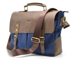 Мужская сумка-портфель кожа+парусина RK-3960-4lx от украинского бренда TARWA - фото сумки 2