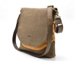 Мужская сумка через плечо кожа+парусина RY-18072-4lx бренда TARWA - фото сумки 2
