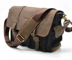 Мужская сумка через плечо парусина+кожа RG-6690-4lx бренда Tarwa - фото сумки 2