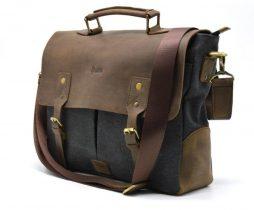 Мужская сумка-портфель кожа+парусина RG-3960-4lx от украинского бренда TARWA - фото сумки 2