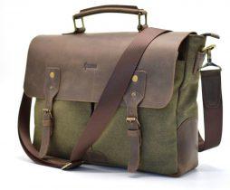 Мужская сумка-портфель кожа+парусина RH-3960-4lx от украинского бренда TARWA - фото сумки 2