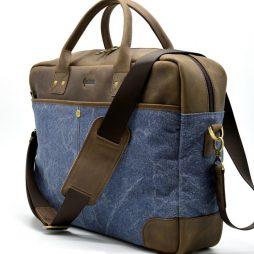 Мужская сумка парусина+кожа RK-0458-4lx TARWA - фото сумки 2