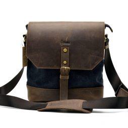 Мужская сумка-месседжер комбинированная из кожи и парусины RG-1307-4lx бренда TARWA - фото сумки 2