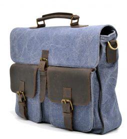 Портфель мужской парусина + кожа RK-1282-4lx TARWA - фото сумки 2