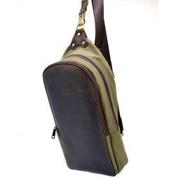 Слинг-рюкзак из канвас и лошадиной кожи RH-2017-4lx TARWA - фото сумки 2