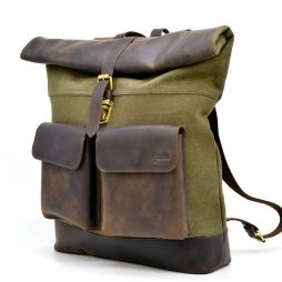 Ролл-ап городской рюкзак ткань канвас и лошадиная кожа TARWA RH-3462-4lx - фото сумки 2