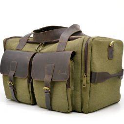 Дорожная сумка из парусины и лошадиной кожи RH-5915-4lx бренда TARWA - фото сумки 2