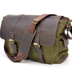 Мужская сумка через плечо парусина и кожа RH-6690-4lx бренда Tarwa - фото сумки 2