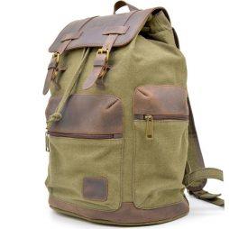 Городской рюкзак микс из парусины и кожи RH-0010-4lx от бренда TARWA - фото сумки 2