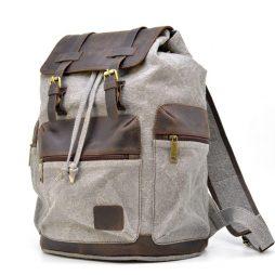 Рюкзак серый (светлый) из парусины и кожи RGj-0010-4lx от бренда TARWA - фото сумки 2