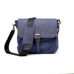 Сумка-мессенджер через плечо микс ткани канваз и кожи KK-1309-4lx TARWA - фото сумки 2