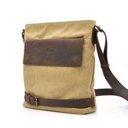 Сумка через плечо в комбинации канвас и кожи RС-0040-4lx TARWA - фото сумки 2