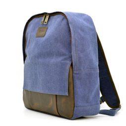 Молодежный рюкзак канвас с кожаными вставками RK-7224-4lx TARWA - фото сумки 2