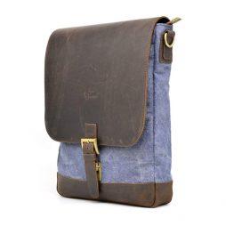 Вертикальная мужская сумка парусина и кожа RK-1808-4lx TARWA - фото сумки 2