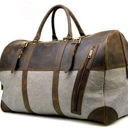 Дорожная сумка-баул из кожи Crazy Horse и ткани Canvas RGj-1633-4lx TARWA - фото сумки 2