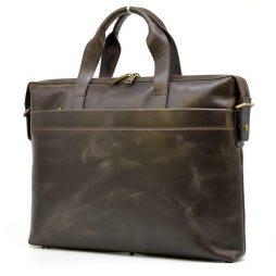 Кожаная тонкая сумка для ноутбука GC-0042-4lx коричневая от TARWA - фото сумки 2