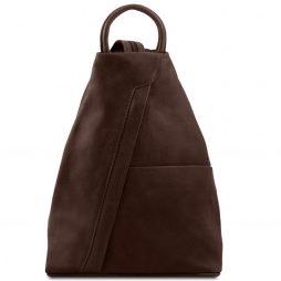 Сумка Tuscany Leather TL140963 Shanghai - Рюкзак из мягкой кожи (Цвет - Темно-коричневый) - картинка 1