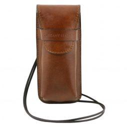 Сумка Tuscany Leather TL141282 Эксклюзивный кожаный футляр для Очков/Смартфона (Цвет - Коричневый) - картинка 1