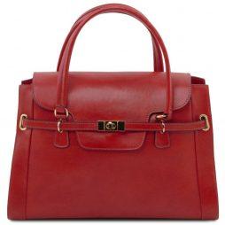Сумка Tuscany Leather TL141230 TL NeoClassic - Женская кожаная сумка с поворотным замком (Цвет - Красный) - картинка 1