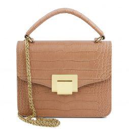 Сумка Tuscany Leather TL141890 TL Bag - Croc print mini bag (Цвет - Nude) - картинка 1