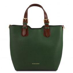 Сумка Tuscany Leather TL141696 TL Bag - Сумка-тоут из кожи Саффьяно (Цвет - Forest Green) - картинка 1