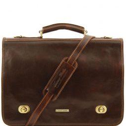 Сумка Tuscany Leather TL10054 Siena - Кожаная сумка-мессенджер на 2 отделения (Цвет - Темно-коричневый) - картинка 1