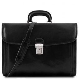 Сумка Tuscany Leather TL10027 Napoli - Кожаный портфель на 2 отделения (Цвет - Черный) - картинка 1