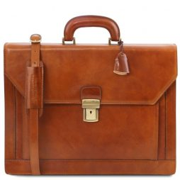 Сумка Tuscany Leather TL141348 Napoli - 2 compartments leather briefcase with front pocket (Цвет - Мед) - картинка 1