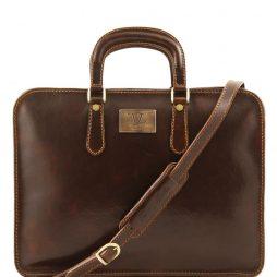 Сумка Tuscany Leather TL140961 Alba - Женский кожаный портфель с одним оделением (Цвет - Темно-коричневый) - картинка 1