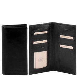 Сумка Tuscany Leather TL140784 Эксклюзивный вертикальный кожаный бумажник двойного сложения (Цвет - Черный) - картинка 1