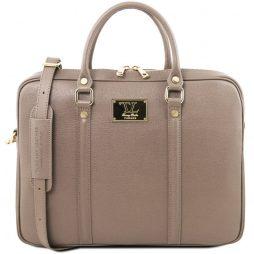 Сумка Tuscany Leather TL141626 Prato - Exclusive Saffiano leather laptop case (Цвет - Темный серо-коричневый) - картинка 1