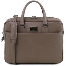 Сумка Tuscany Leather TL141627 Urbino - Кожаная сумка с золотистой фурнитурой (Цвет - Темный серо-коричневый) - картинка 1