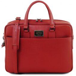 Сумка Tuscany Leather TL141627 Urbino - Кожаная сумка с золотистой фурнитурой (Цвет - Красный) - картинка 1