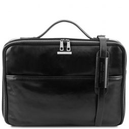 Сумка Tuscany Leather TL141240 Vicenza - Leather laptop briefcase with zip closure (Цвет - Черный) - картинка 1