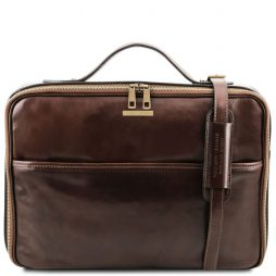 Сумка Tuscany Leather TL141240 Vicenza - Leather laptop briefcase with zip closure (Цвет - Темно-коричневый) - картинка 1