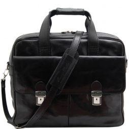 Сумка Tuscany Leather TL140889 Reggio Emilia - Эксклюзивная кожаная сумка для ноутбука (Цвет - Черный) - картинка 1