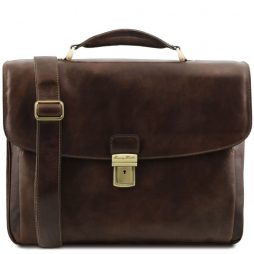 Сумка Tuscany Leather TL141448 Alessandria - Leather multi compartment TL SMART laptop briefcase (Цвет - Темно-коричневый) - картинка 1