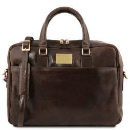 Сумка Tuscany Leather TL141241 Urbino - Кожаный портфель для ноутбука с передним карманом (Цвет - Темно-коричневый) - картинка 1