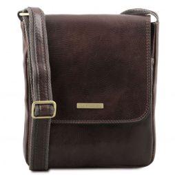 Сумка Tuscany Leather TL141408 John - Leather crossbody bag for men with front zip pocket (Цвет - Темно-коричневый) - картинка 1