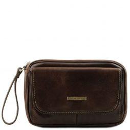 Сумка Tuscany Leather TL140849 Ivan - Мужская кожаная сумка на запястье (Цвет - Темно-коричневый) - картинка 1