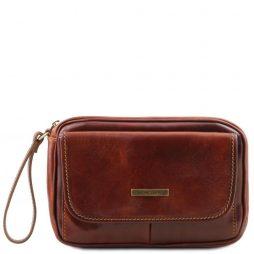 Сумка Tuscany Leather TL140849 Ivan - Мужская кожаная сумка на запястье (Цвет - Коричневый) - картинка 1