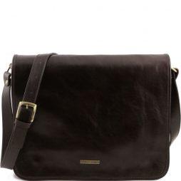 Сумка Tuscany Leather TL141254 TL Messenger - Кожаная сумка на плечо с 2 отделениями - Большой размер (Цвет - Темно-коричневый) - картинка 1