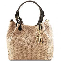 Сумка Tuscany Leather TL141573 TL KeyLuck - Кожаная сумка-шоппер с плетеным теснением (Цвет - Бежевый) - картинка 1