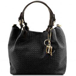 Сумка Tuscany Leather TL141573 TL KeyLuck - Кожаная сумка-шоппер с плетеным теснением (Цвет - Черный) - картинка 1