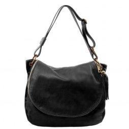 Сумка Tuscany Leather TL141110 TL Bag - Сумка на плечо с кисточкой из мягкой кожи (Цвет - Черный) - картинка 1