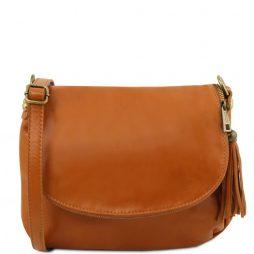 Сумка Tuscany Leather TL141223 TL Bag - Сумка на плечо с кисточкой из мягкой кожи (Цвет - Коньяк) - картинка 1