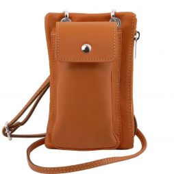 Сумка Tuscany Leather TL141423 TL Bag - Soft Leather cellphone holder mini cross bag (Цвет - Коньяк) - картинка 1