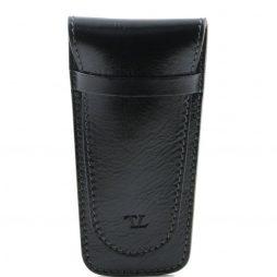 Сумка Tuscany Leather TL141273 Элегантный кожаный футляр для 2х ручек (Цвет - Черный) - картинка 1
